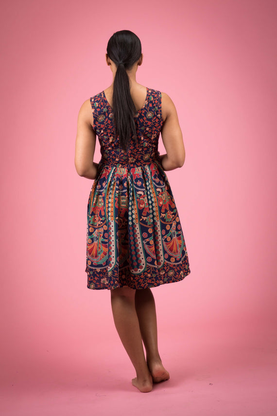Short Floral Sleeveless Cotton Dress