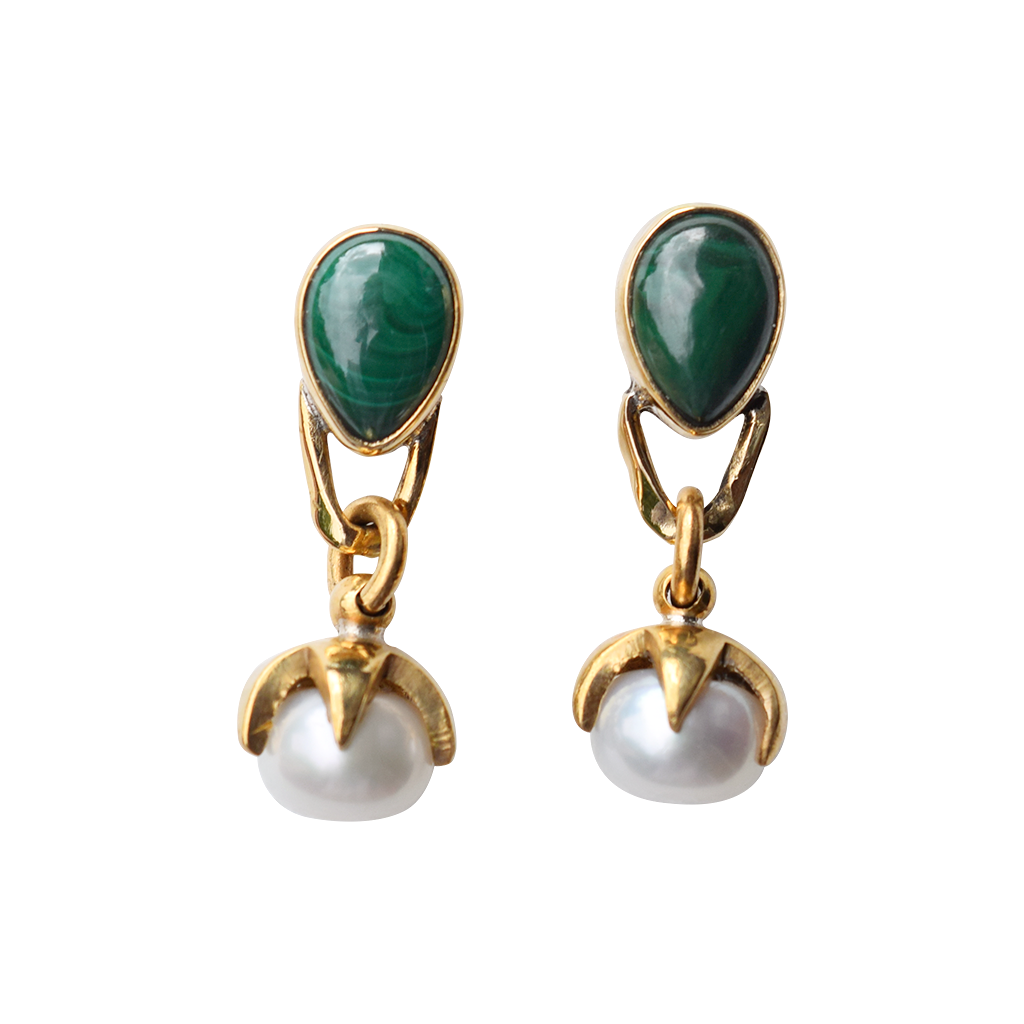 Malachite and Pearl Stone Stud Earring - Lissa Bowie