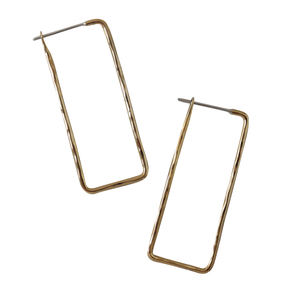 Rectangle hammered hoop earring - Lissa Bowie