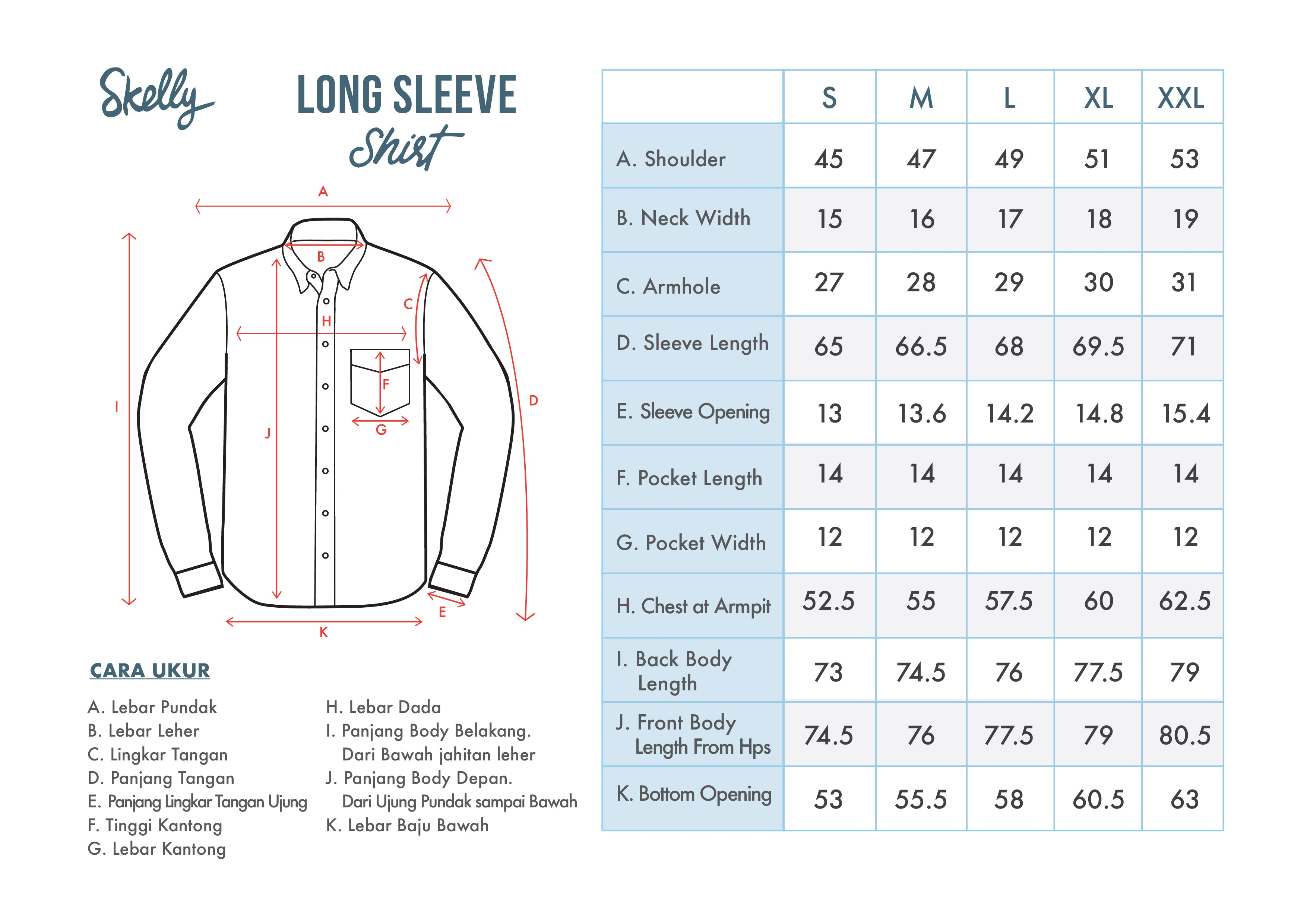 Long Sleeve Shirts - Standard Fit - Size Chart