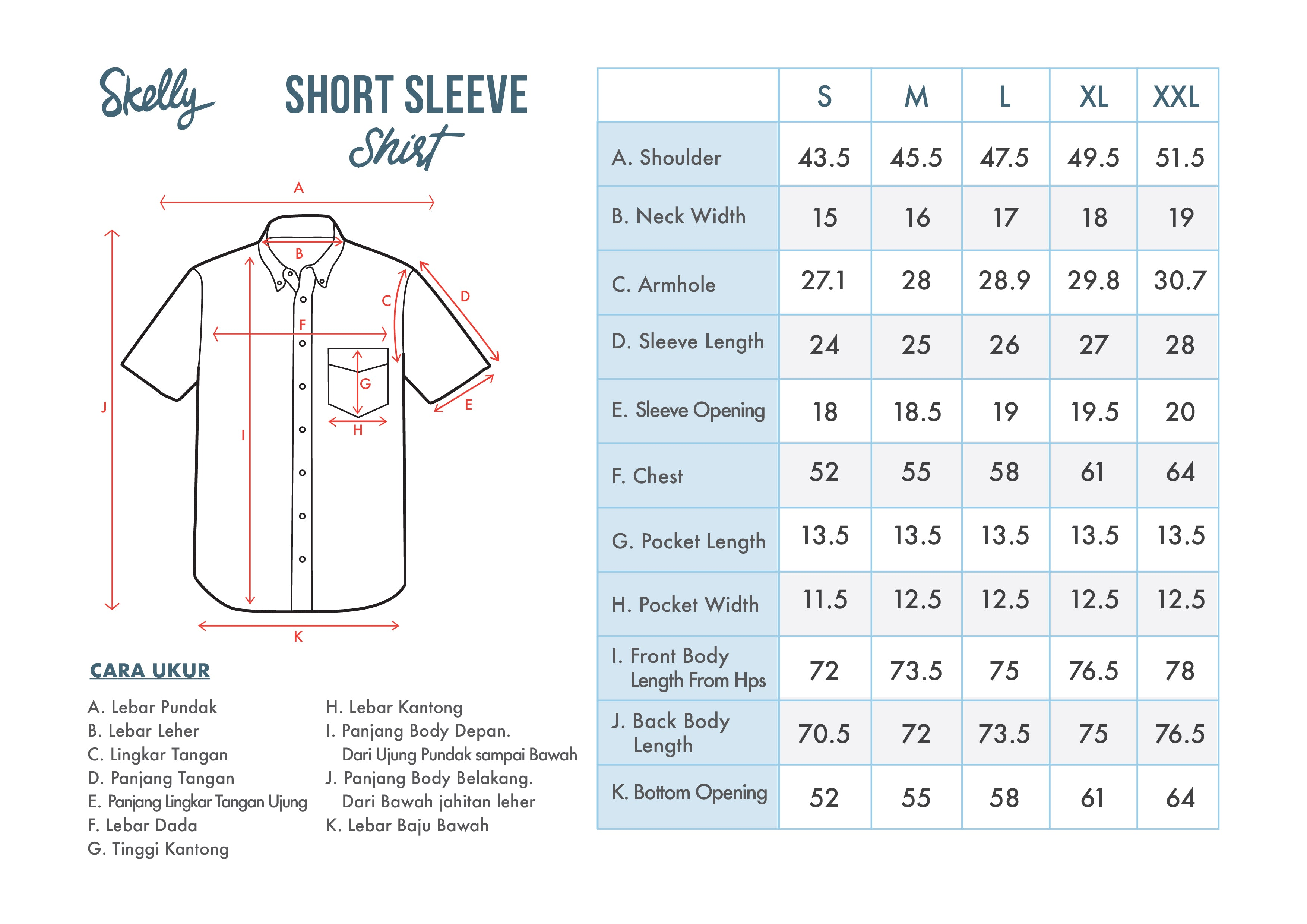 Short Sleeve Shirts - Standard Fit - Size Chart