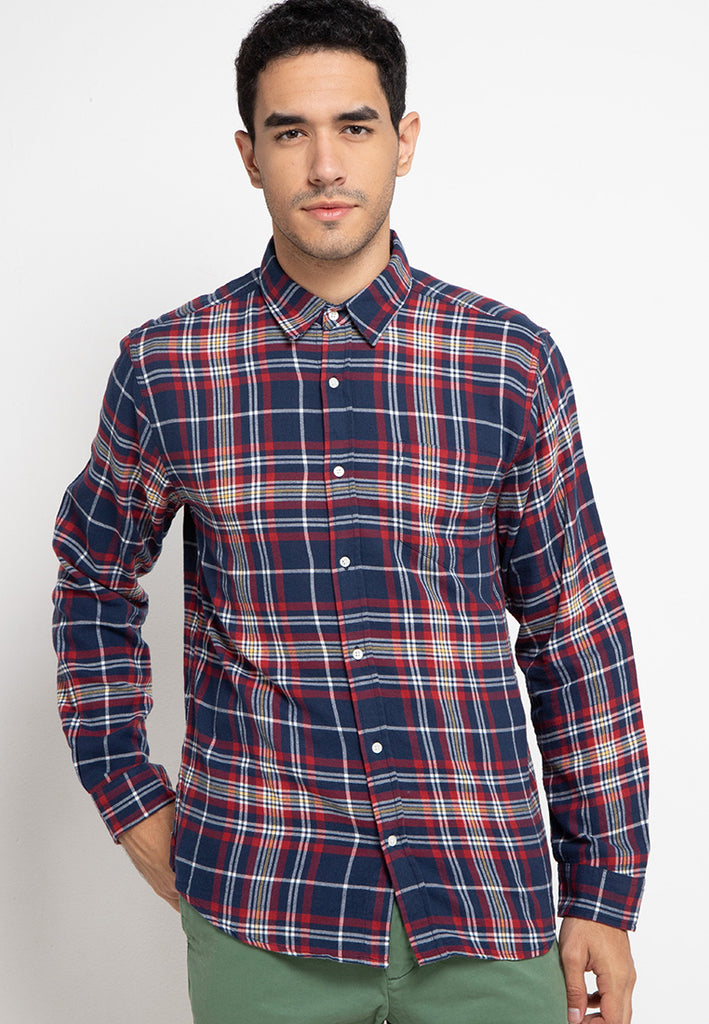 Lucas Flannel LS Navy Plaid
