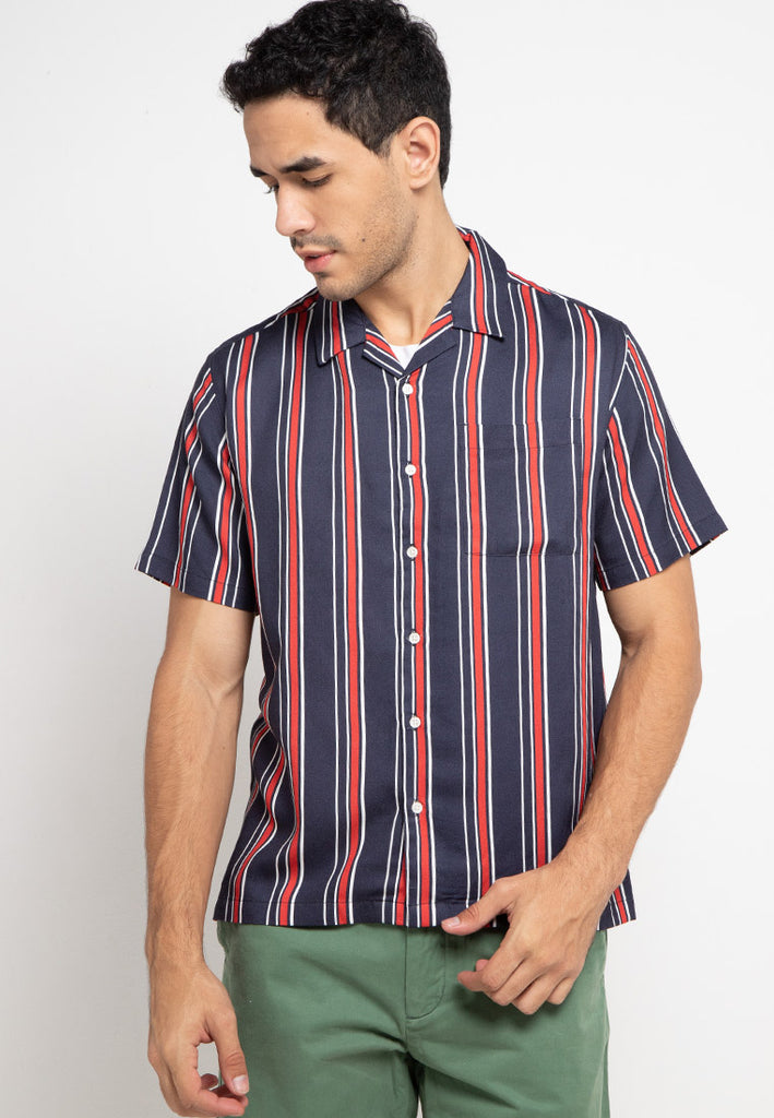 Tropical Shirt Barber Stripe