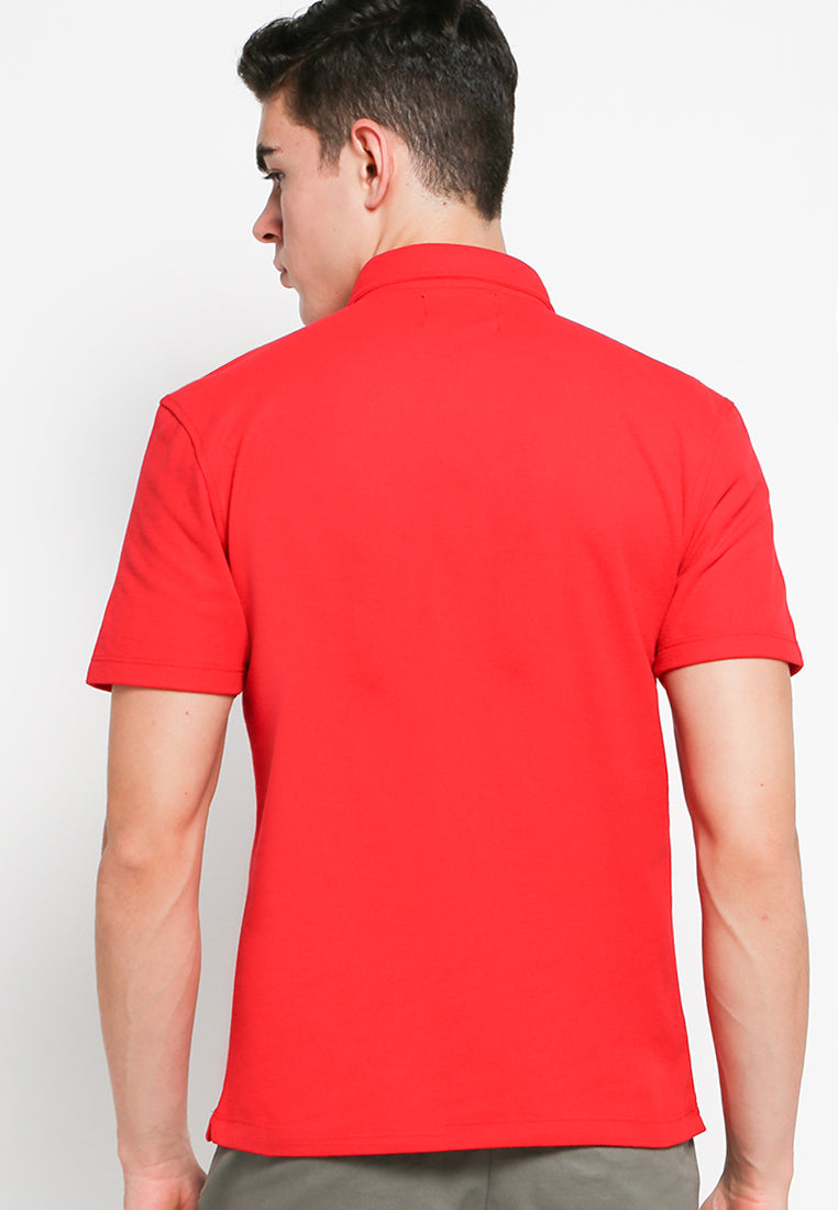 Button Down Polo Lipstick Red - Skelly Indonesia - The Original Graphic Tees, Comfortable Basic - www.skellyshop.co.uk