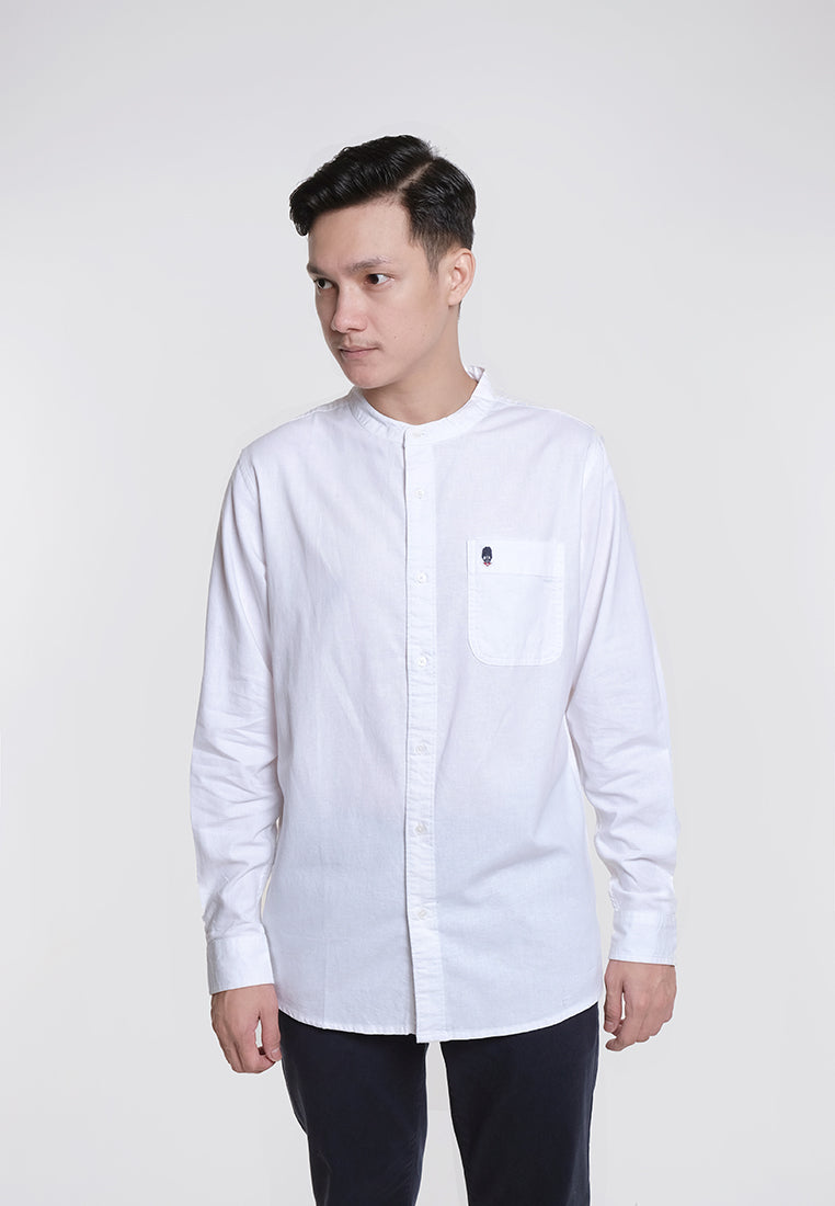 Alan LS Linen Stand Collar Shirts White