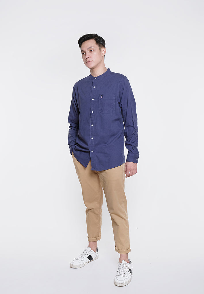 Alan LS Linen Stand Collar Shirts Navy