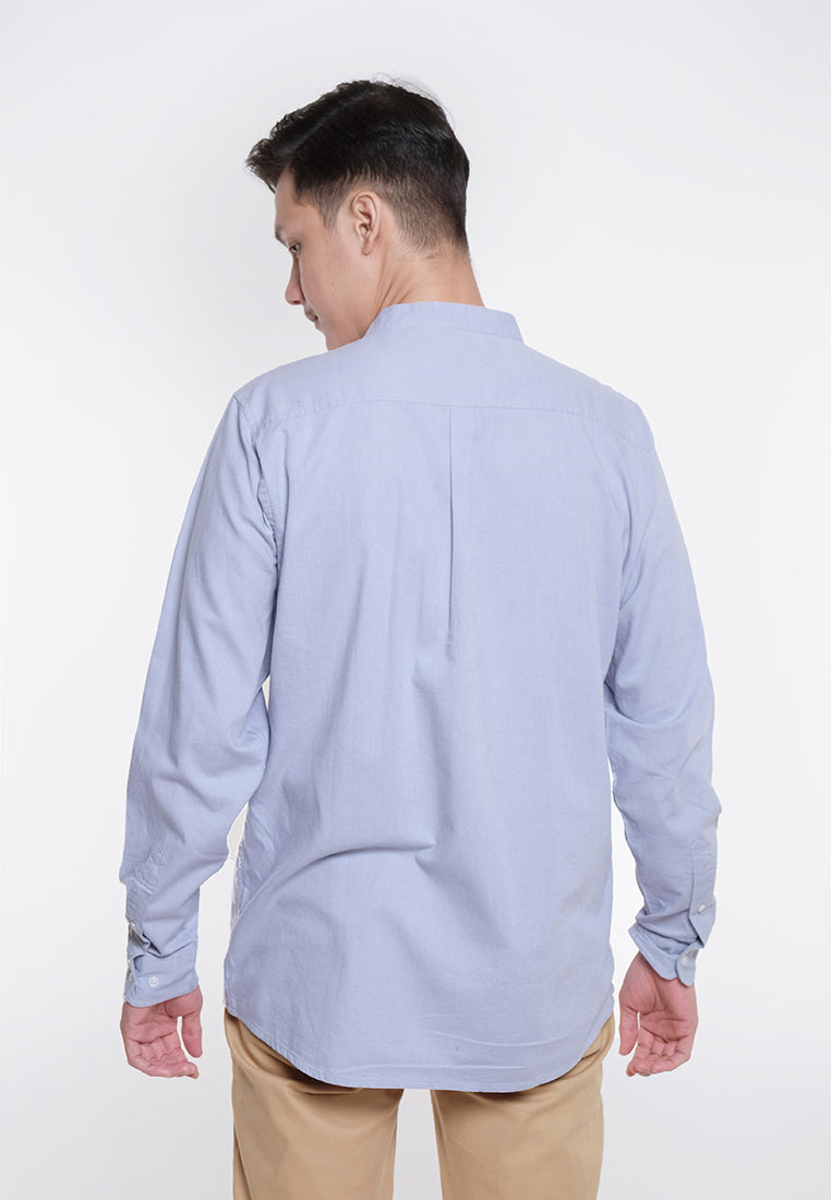 Alan LS Linen Stand Collar Shirts Light Grey