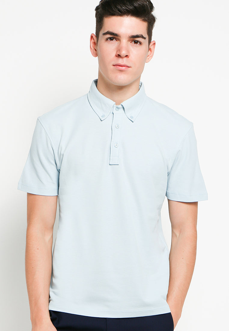 Button Down Polo in Blue