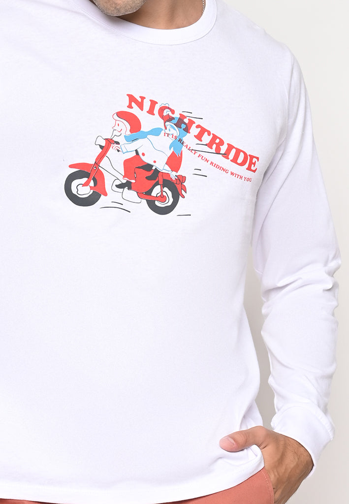 Night Ride LS Tee White OE 20S