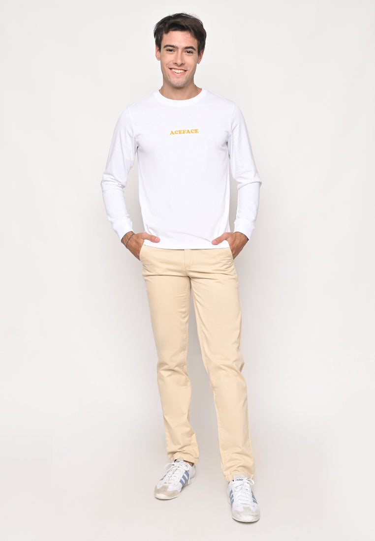 Ace Elbow White Long Sleeve Tee