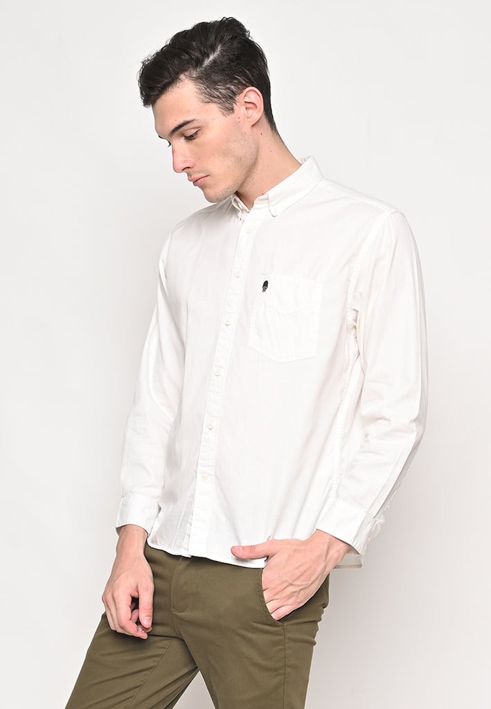 Thom Twill Shirts Long Sleeve Cream Ecru