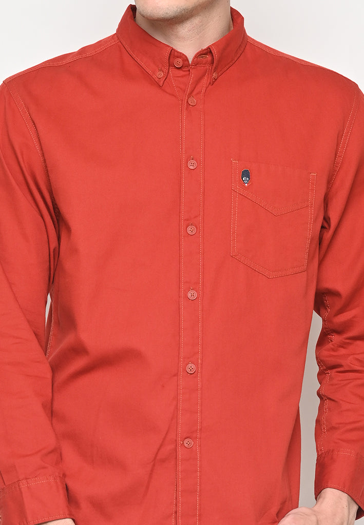 Thom Twill Shirts Long Sleeve Orange Brick