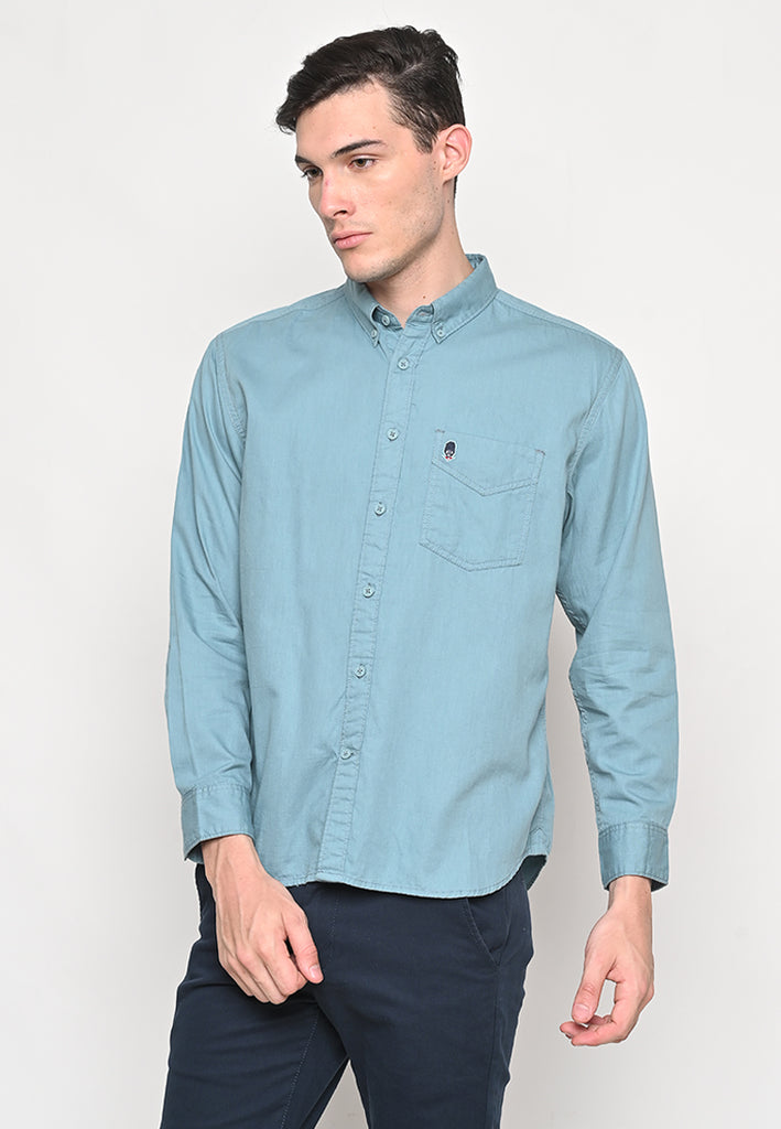Thom Twill Shirts Long Sleeve Dusty Blue