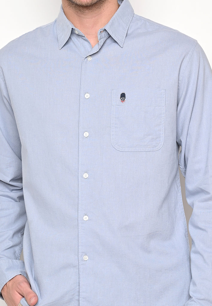 Skelly Collective John Linen LS Shirt Light Grey