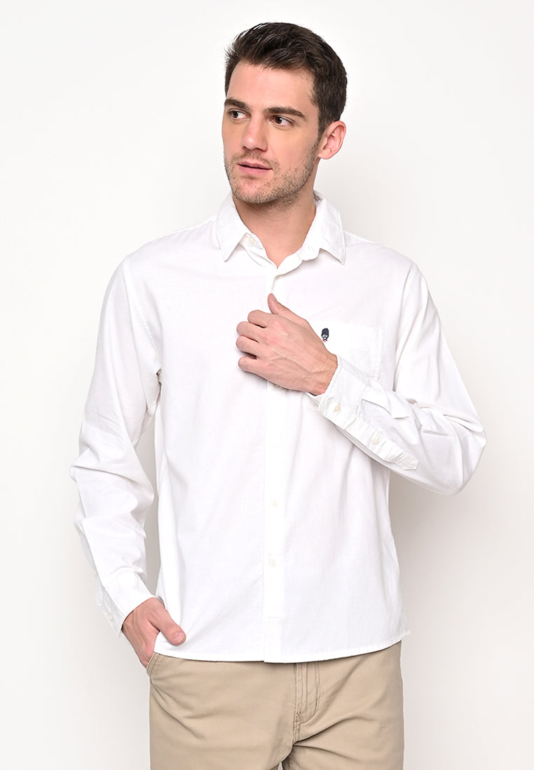 Skelly Collective John Linen LS Shirt White