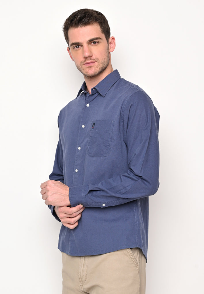 Skelly Collective John Linen LS Shirt Navy