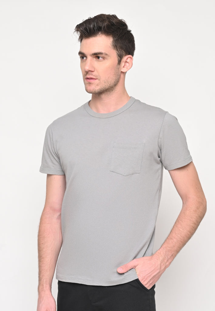 Premium Basic Crew Neck Pocket T-Shirt In Grey