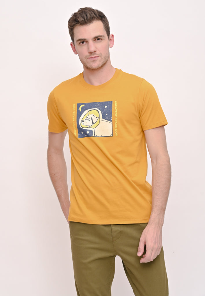 Space Dog Tee Yellow