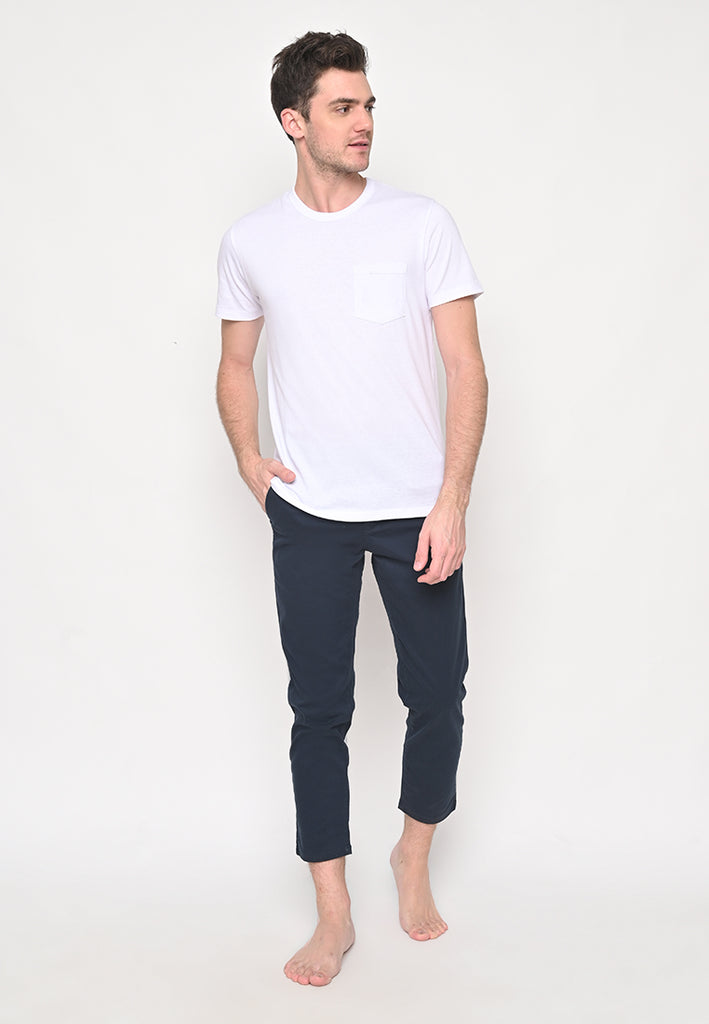 Premium Basic Crew Neck Pocket T-Shirt in White