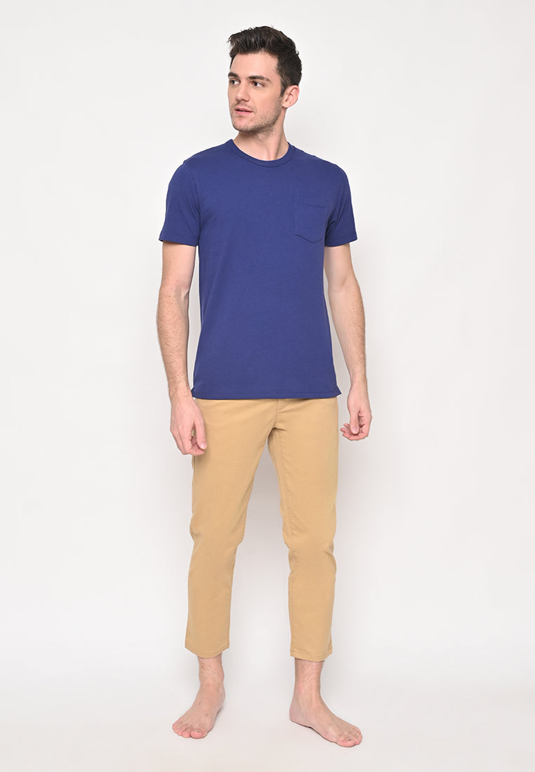 Premium Basic Crew Neck Pocket T-Shirt in Navy