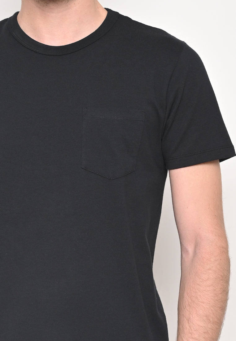 Premium Basic Crew Neck Pocket T-Shirt Flyer In Black