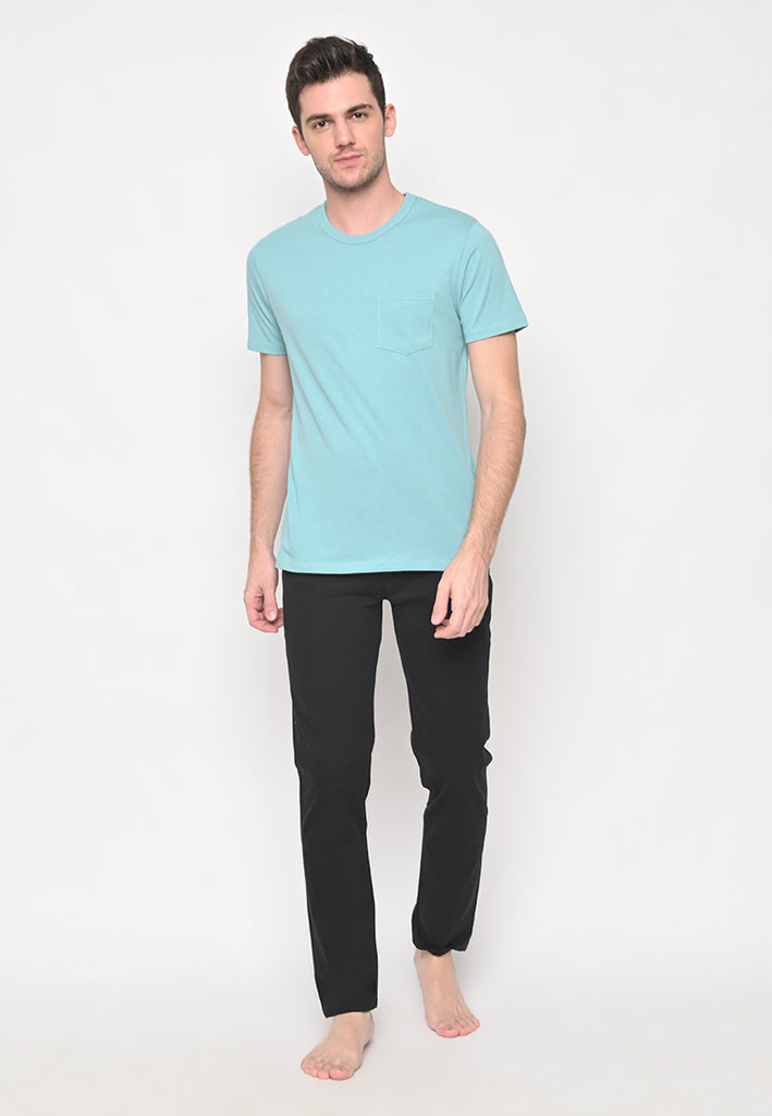 Premium Basic Crew Neck Pocket T-Shirt in Mint