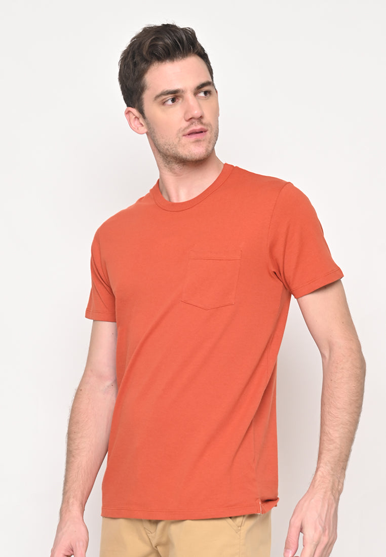 Premium Basic Crew Neck Pocket T-Shirt in Orange