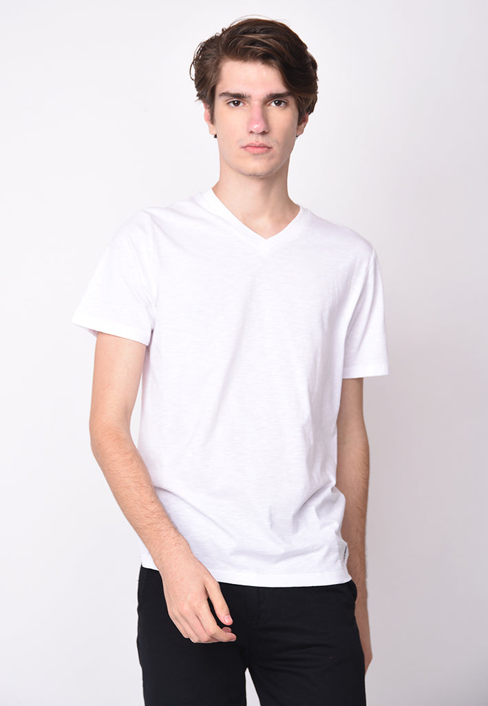 Guardian VNeck Slub In White