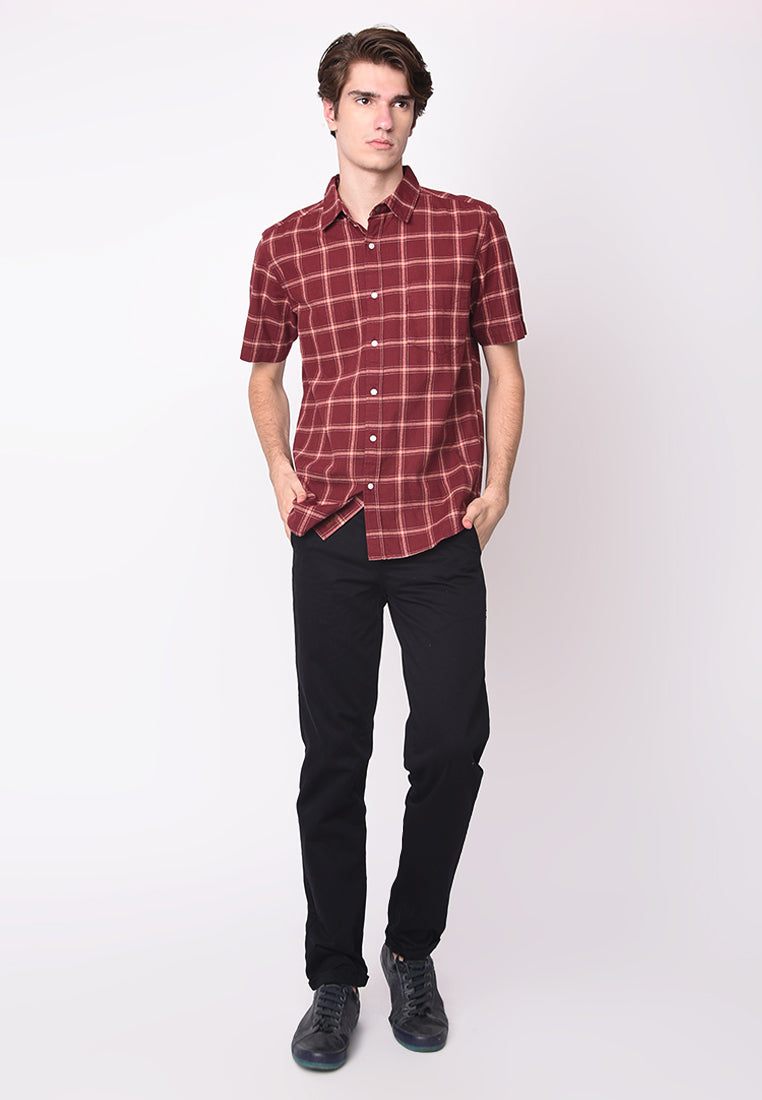 Jamie Short Sleeve Flannel Shirts in Maroon Red
