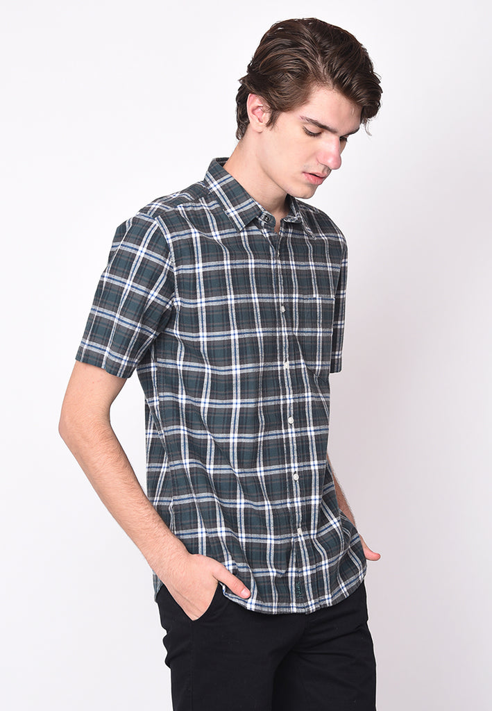 Jamie Short Sleeve Flannel Shirts in Blue
