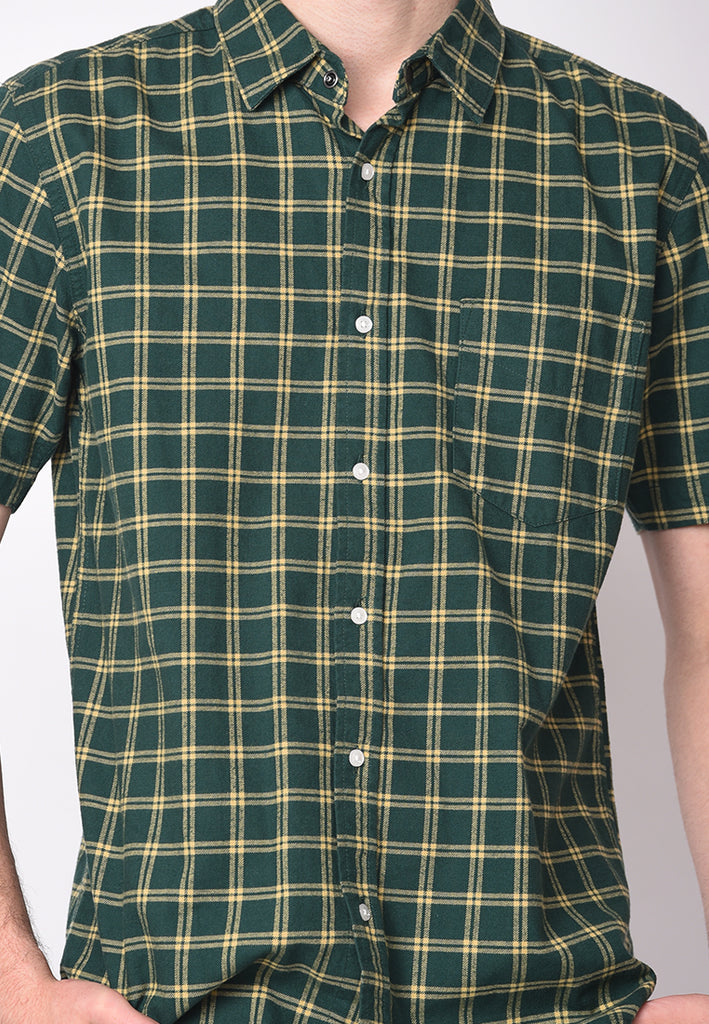 Jamie Short Sleeve Flannel Shirts in Green