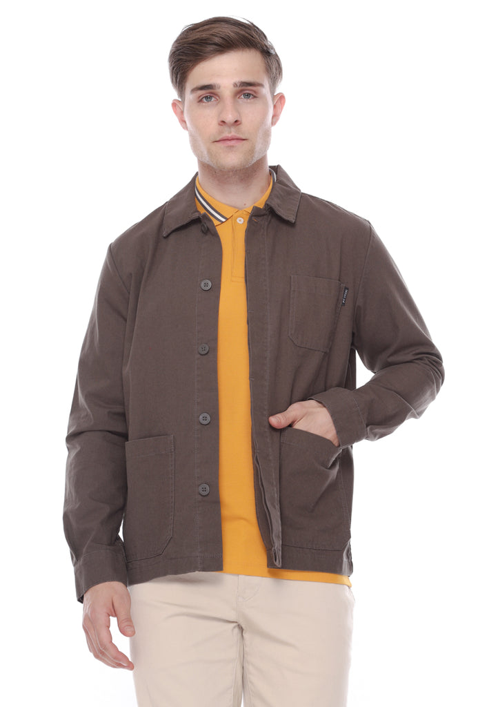 Herb Canvas Jacket In Dark Grey