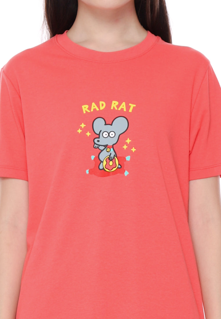 Rad Rat Donut Pink Graphic T-shirt Special Ladies