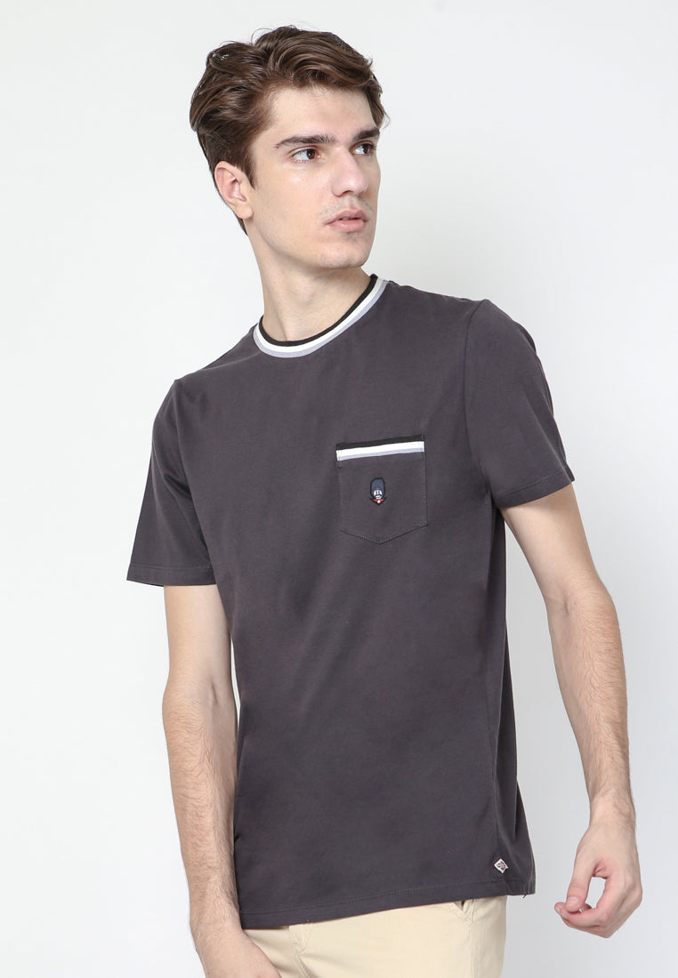 Guardian Ringer Pocket Jetblack Crew Neck T-shirt