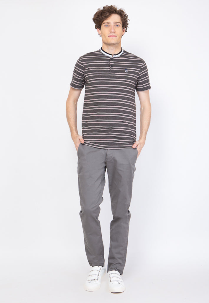 Guardian Band Collar Stripe T-shirt