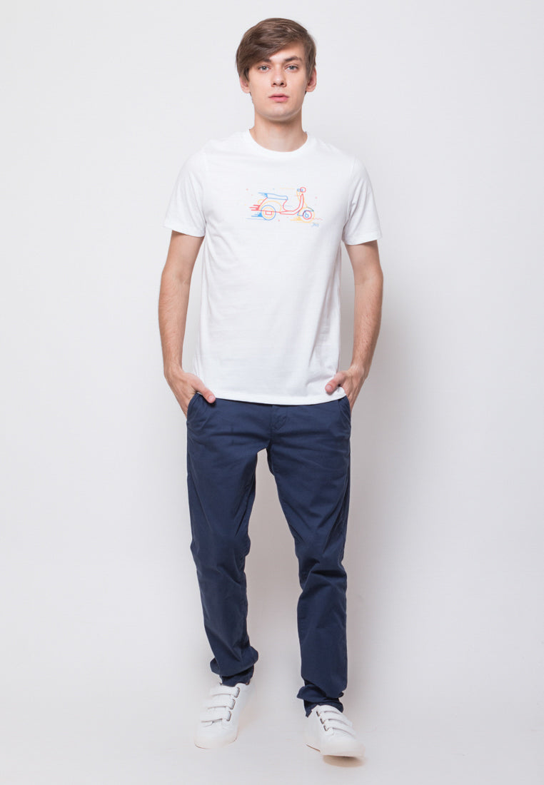 Scoot Line Graphic T-shirt in White - Skelly Indonesia - The Original Graphic Tees, Comfortable Basic - www.skellyshop.co.uk