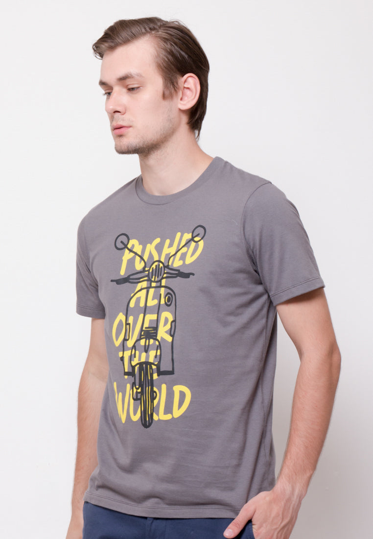 All Over The World Two Scooter Graphic T-shirt in Grey - Skelly Indonesia - The Original Graphic Tees, Comfortable Basic - www.skellyshop.co.uk