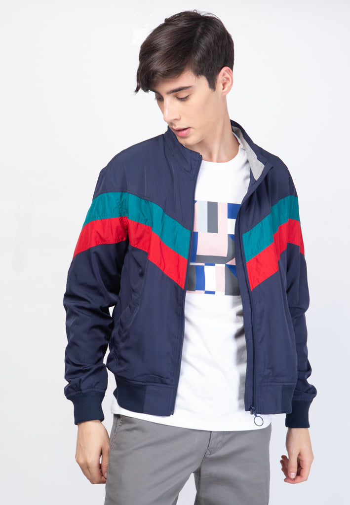 Track Jacket in Navy Turqouise