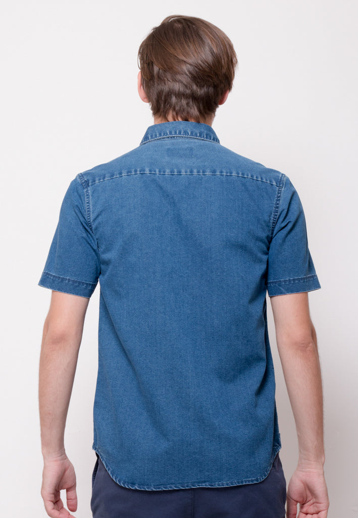 Stalwart Short Sleeve Denim Shirts in Medium Blue - Skelly Indonesia - The Original Graphic Tees, Comfortable Basic - www.skellyshop.co.uk