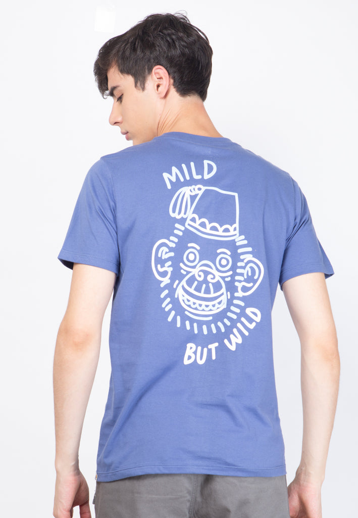 Monkey Mild But Wild Graphic T-shirt in Blue