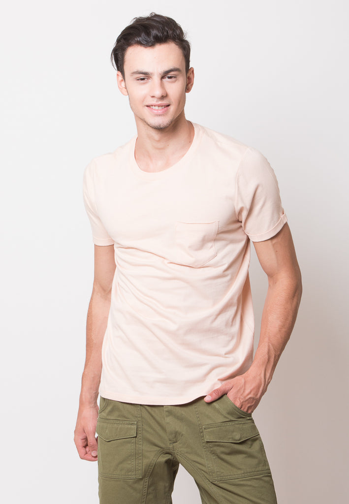 Byron Pocket Rolled Sleeve T-shirts in Peach - Skelly Indonesia - The Original Graphic Tees, Comfortable Basic - www.skellyshop.co.uk