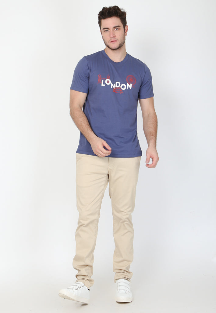 Skelly Original London Skyline in Navy Graphic T-Shirt