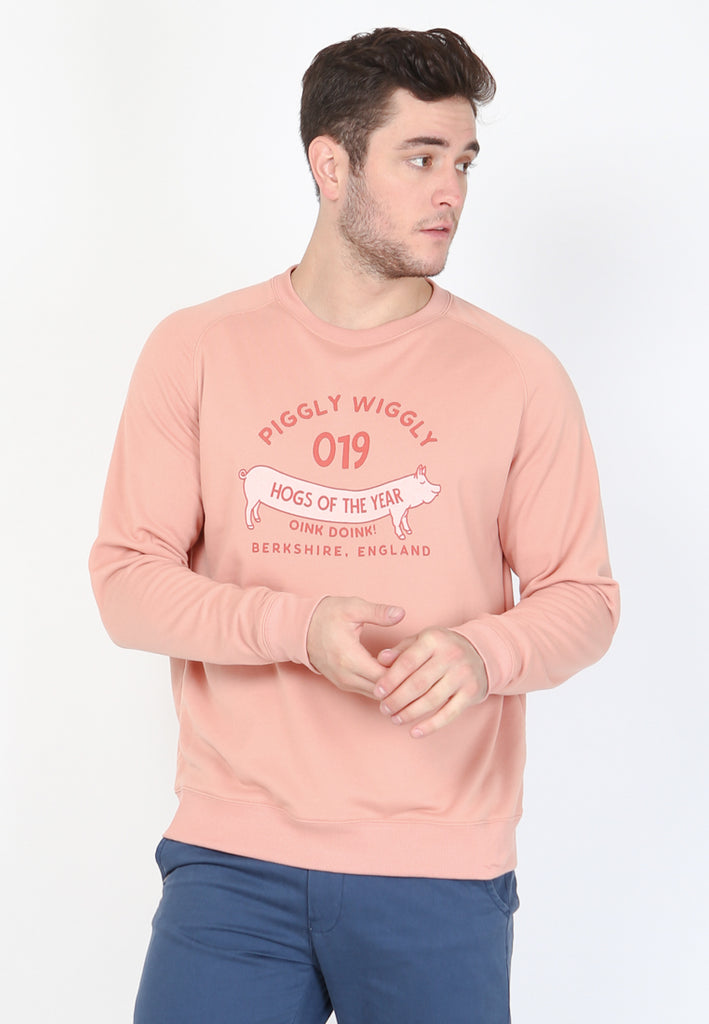 Piggy Wiggly Sweatshirt In Pink Shell