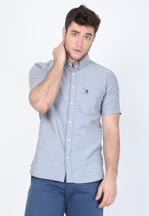 Guardian Hiro Oxford Classic SS Shirt in Light Blue