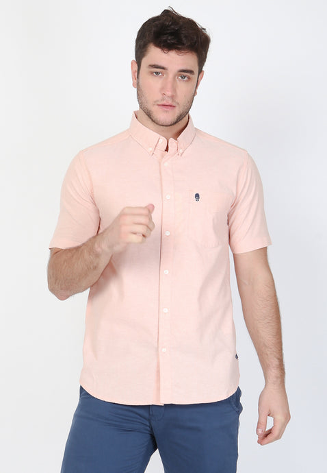 Guardian Hiro Oxford Classic SS Shirt in Salmon