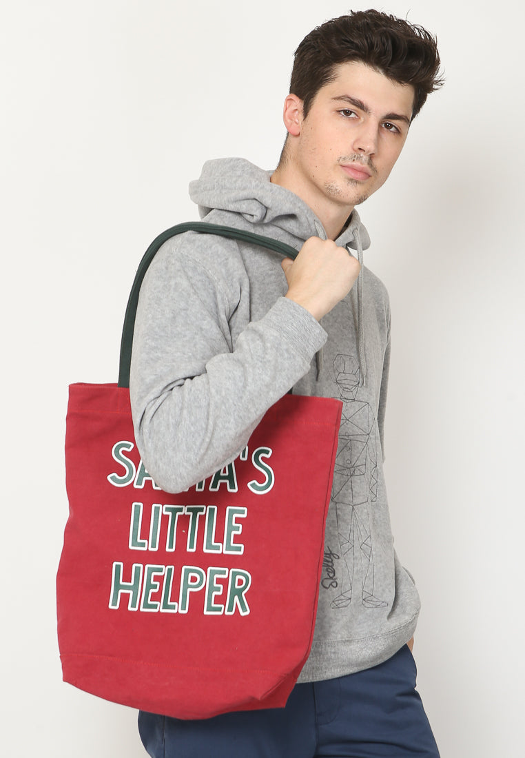 Santa Helper Canvas Tote Bag in Red