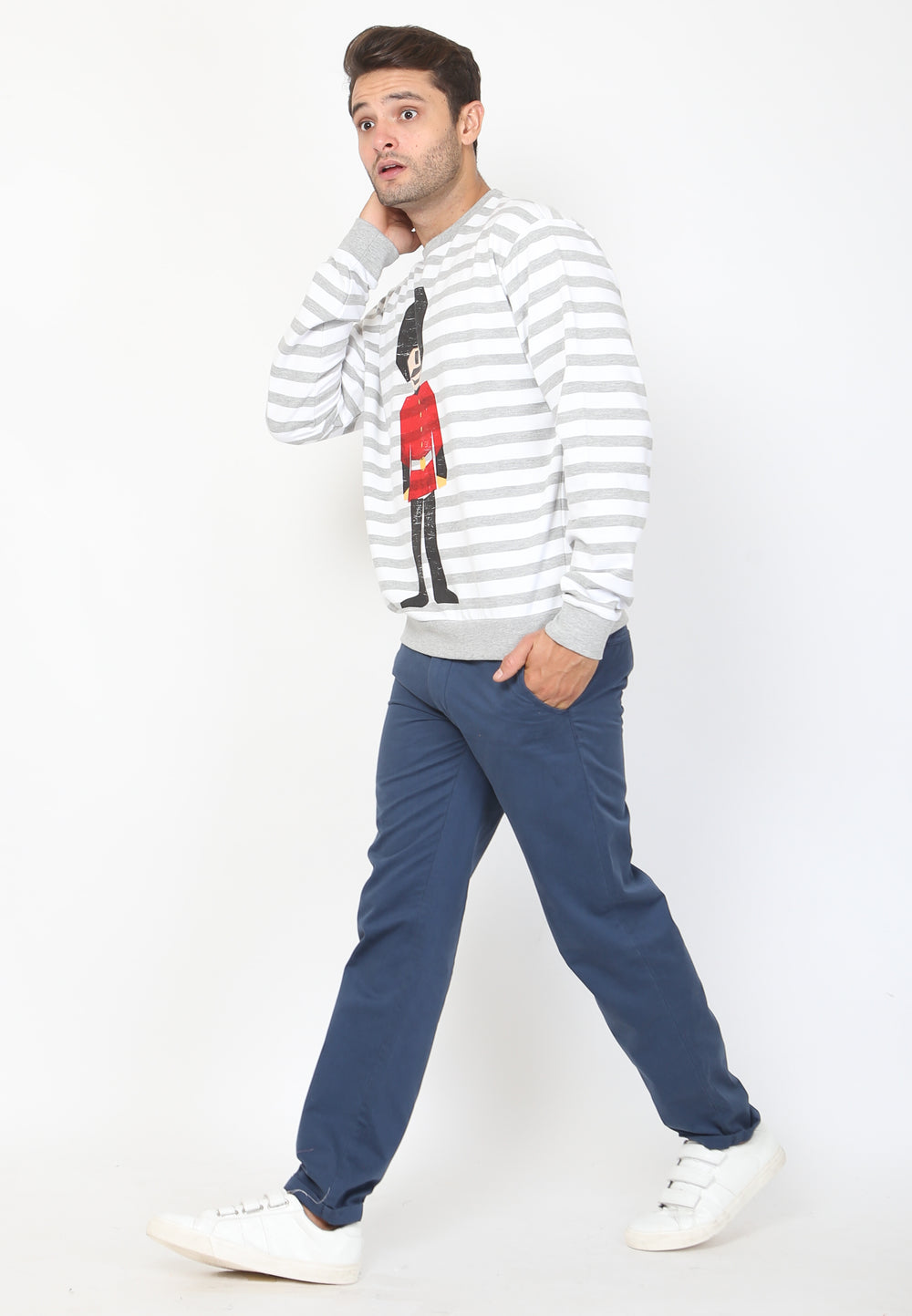 Royal Guard Stripe Sweatshirt in Grey
