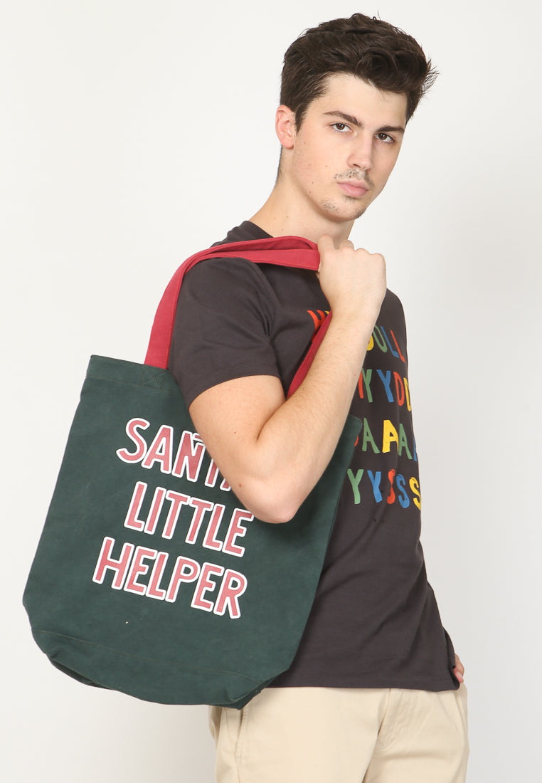 Santa Helper Canvas Tote Bag in Green