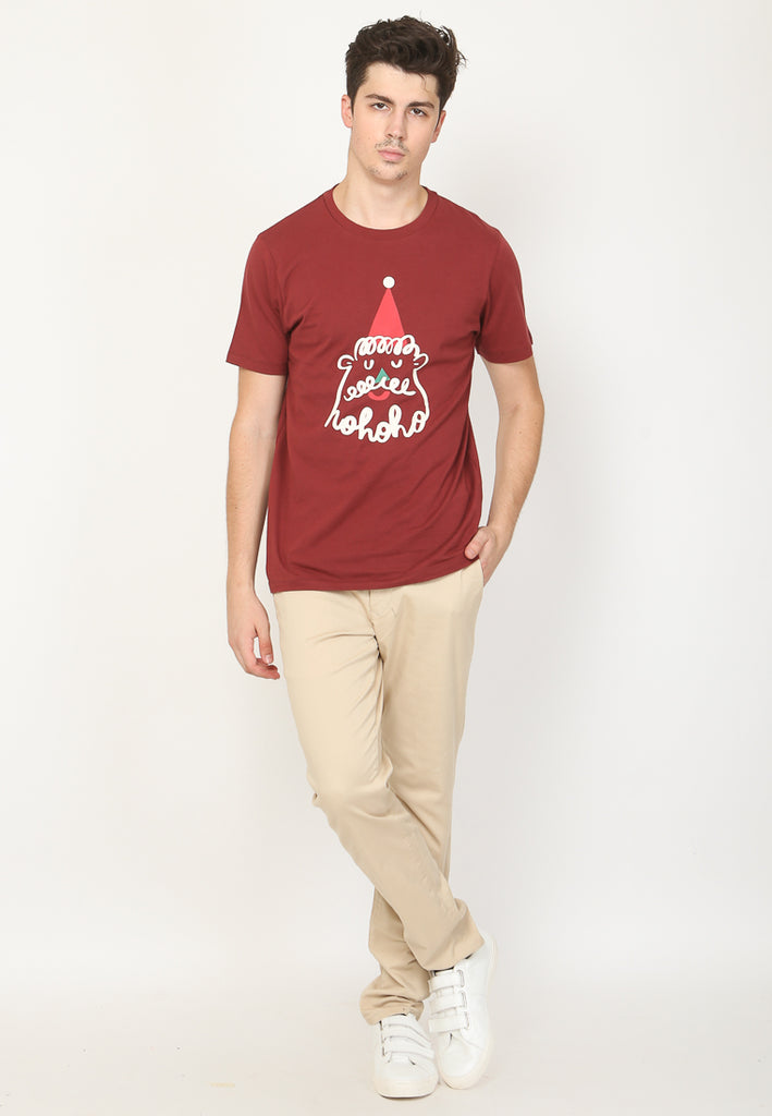Santa Liner Graphic T-shirt in Wine Burgundy