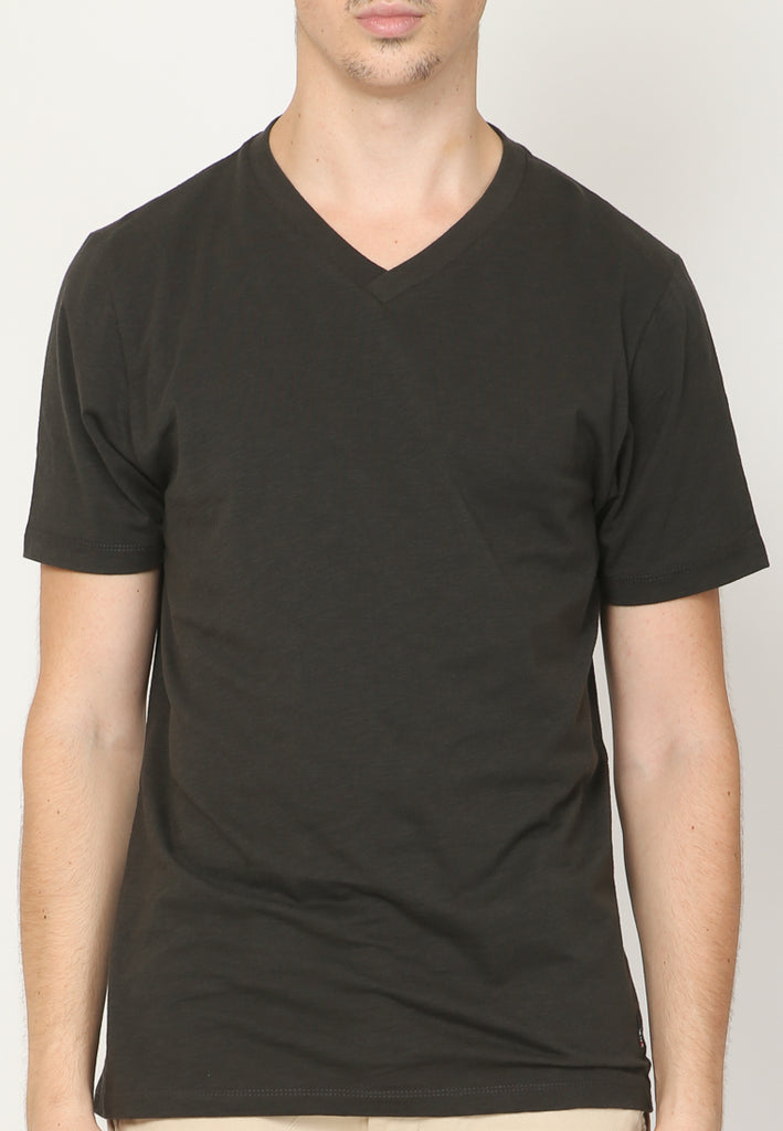 GUARDIAN V NECK SLUB IN BLACK